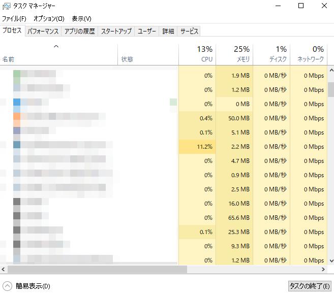 Windows タスクマネージャ