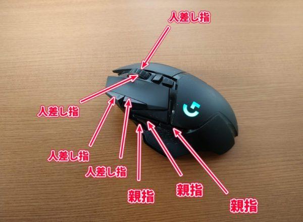 多ボタンマウス クリックする指